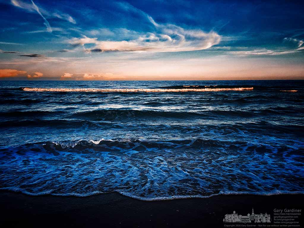 Waves brightened by the sunset lap the southern shore of St. George Island. My Final Photo for July 20, 2016.