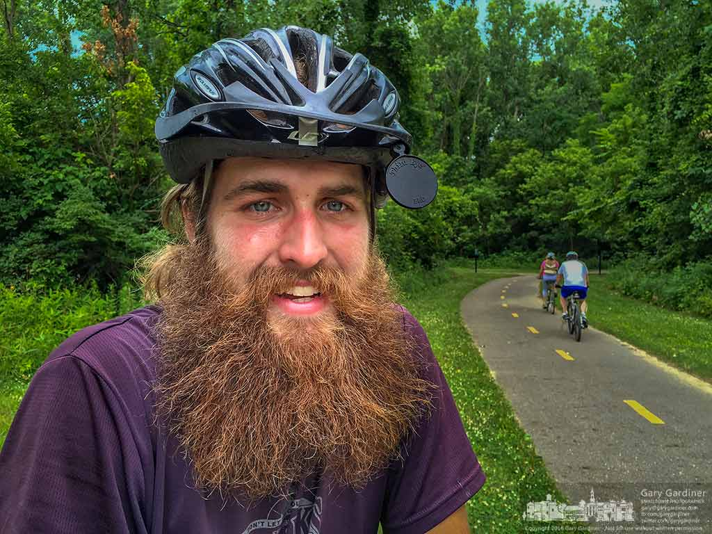 Jon Wilmot poses for a quick photo where he stopped to check his route along the Alum Creek trail as he nears completion of a clockwise circumnavigation of the country on his bicycle. My Final Photo for July 3, 2016.