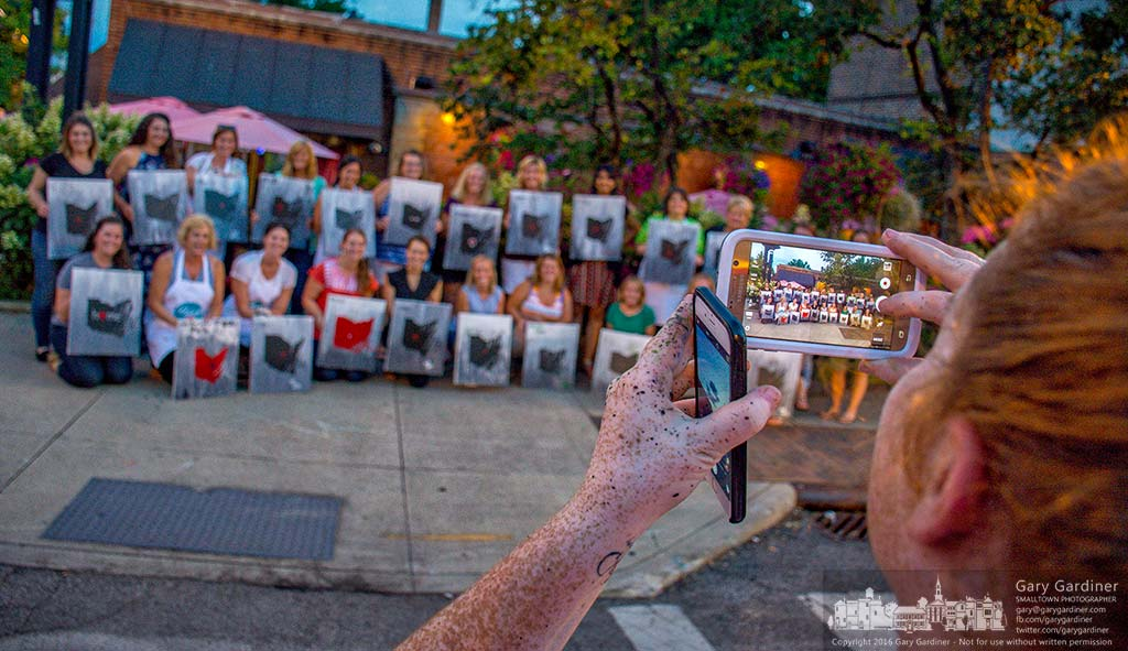 The art instructor photographs the Paint with Palette class at the end of a Pelotonia fundraiser at Jimmy V's in Uptown Westerville. My Final Photo for July 27, 2016.