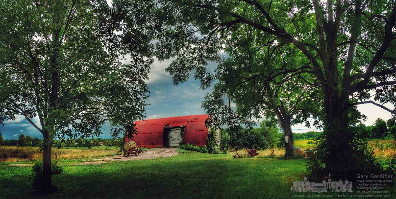 The Braun Farm barn and grounds are rich in color after rains on a Monday. My Final Photo for August. 15, 2016.