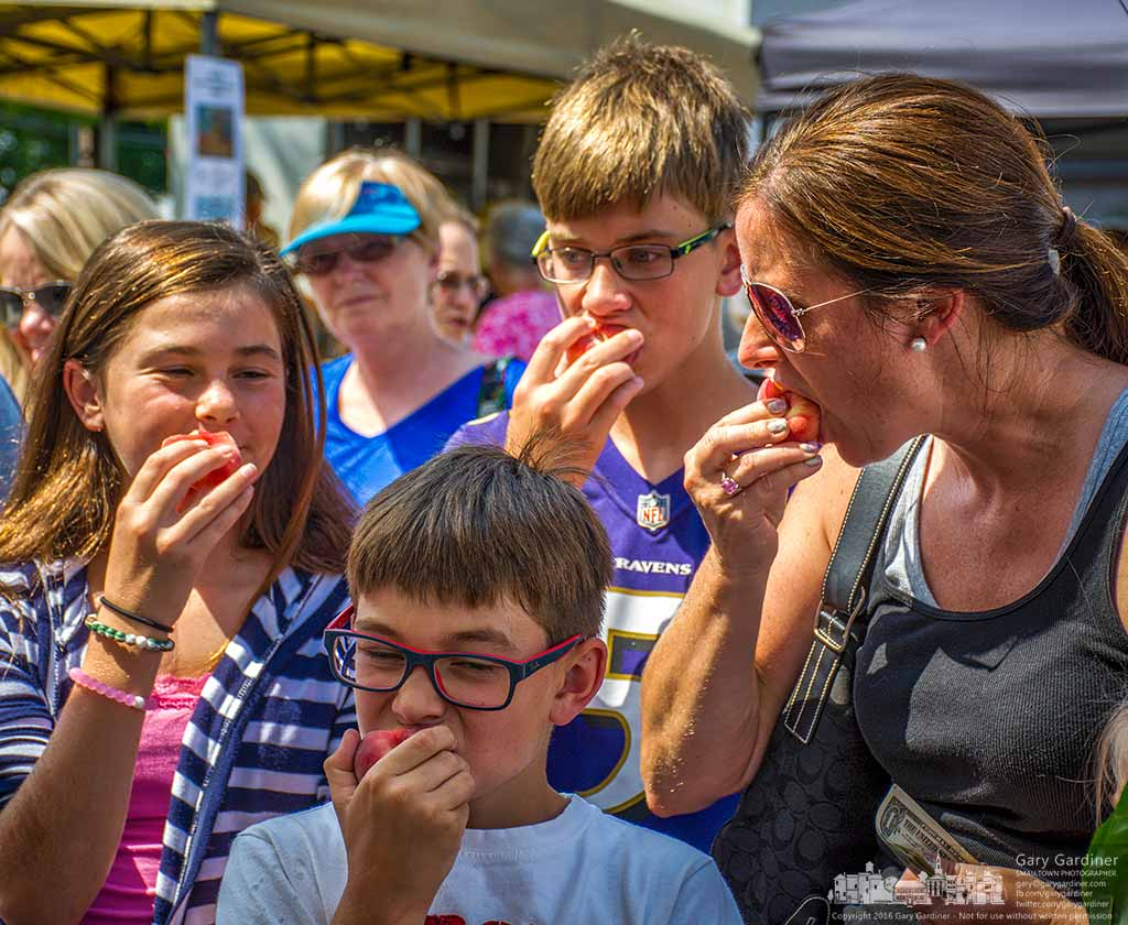 A mother and her three children sample donut peaches from Branstools Orchard at the Uptown Westerville Farmers Market Wednesday. My Final Photo for August 3, 2016.