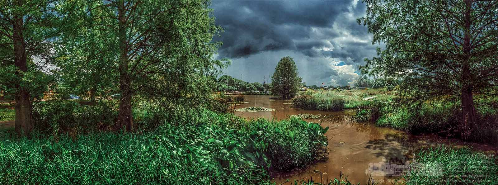 A late afternoon rainstorm moves south of the wetlands at Highlands Park in Westerville. My Final Photo for August 11, 2016.