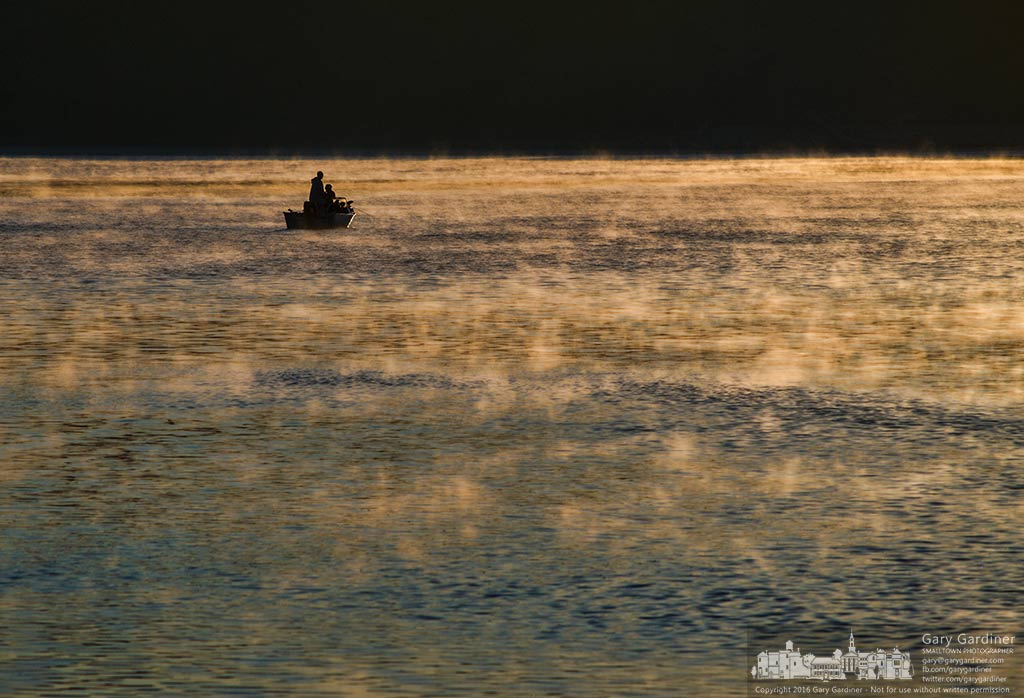 A pair of fisherman navigate across the foggy surface of Hoover Reservoir early on Labor Day morning. My Final Photo for September 5, 2016.