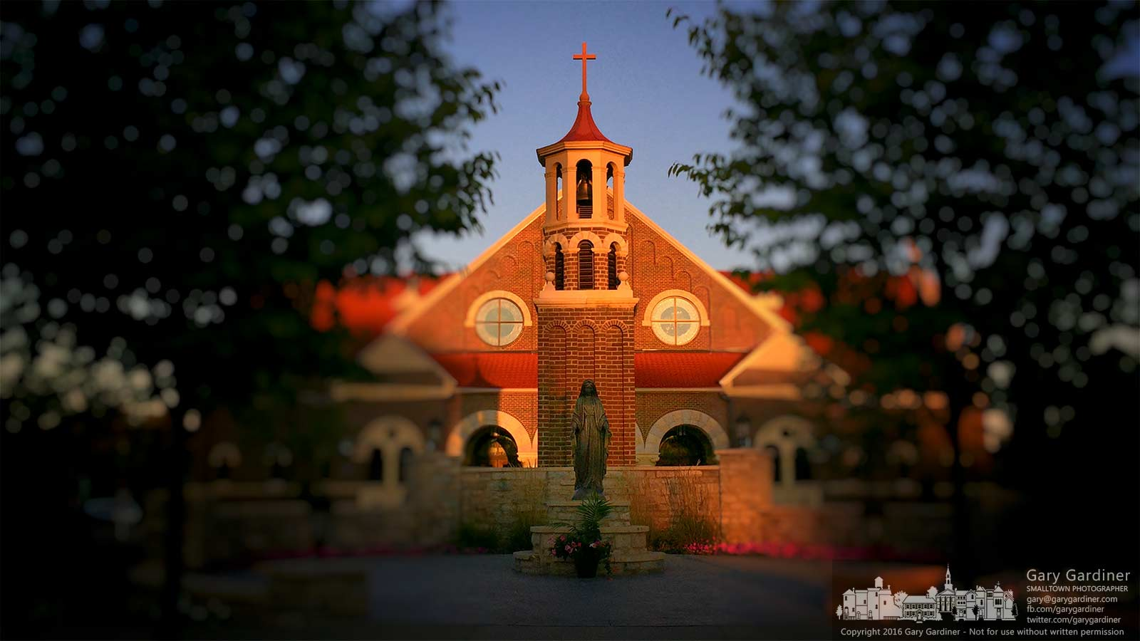 The light of dawn brightens St. Paul the Apostle Catholic Church in Westerville, Ohio, on a Sunday morning. My Final Photo for September 4, 2016.