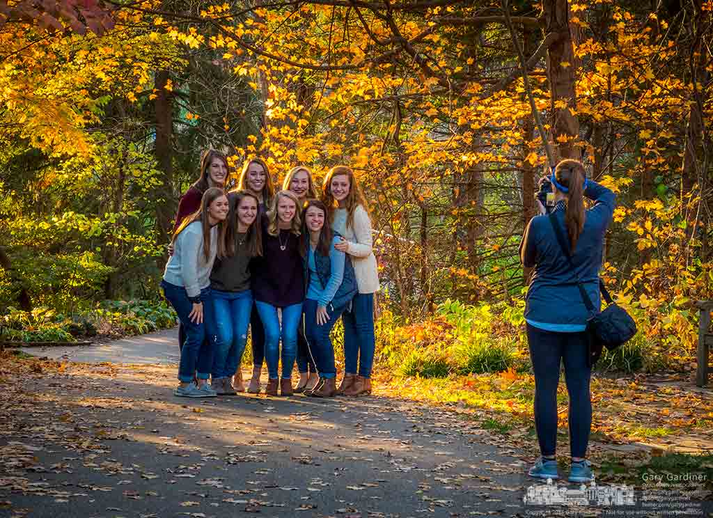 A group of young women pose for photos on a pathway at Inniswood on a Sunday that saw an abundance of photographers using the warm weather and fall colors to shoot clients, family, and friends. My Final Photo for Nov. 6, 2016.