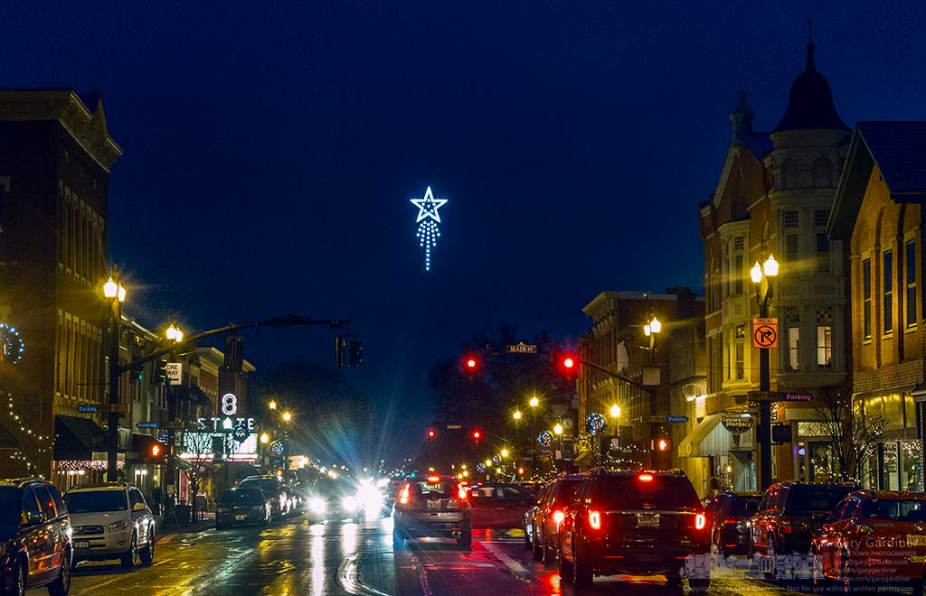 The Westerville Christmas Star hangs brightly over the State and Main intersection in Uptown. My Final Photo for Dec. 6, 2017.