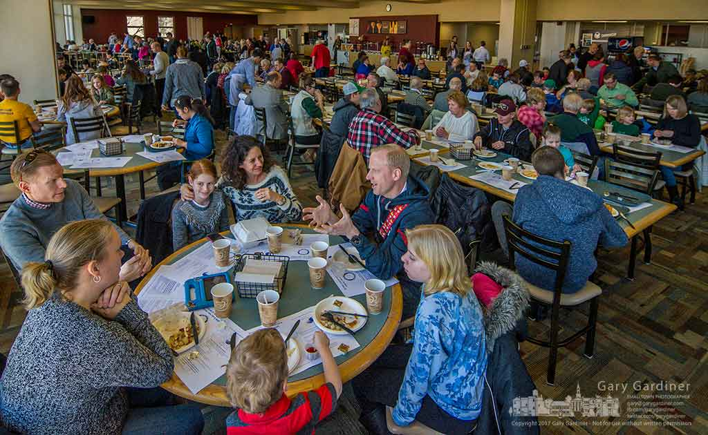 The dining room at Otterbein was filled at noon with the families and friends eating at the Rotary Fish Fry annual fundraiser. My Final Photo for Feb. 26, 2017.
