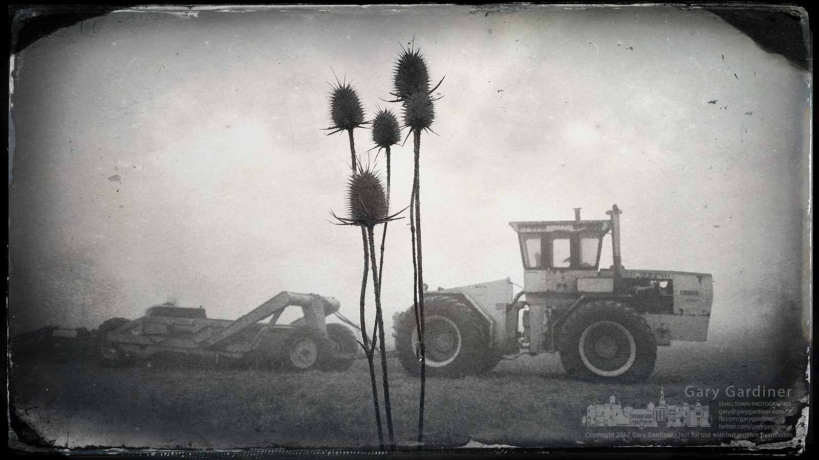 A dried thistle plant stands moistened in a heavy morning fog obscuring one of the tractors on the Braun Farm in the iPhone photo. My final Photo for Feb. 20, 2017.