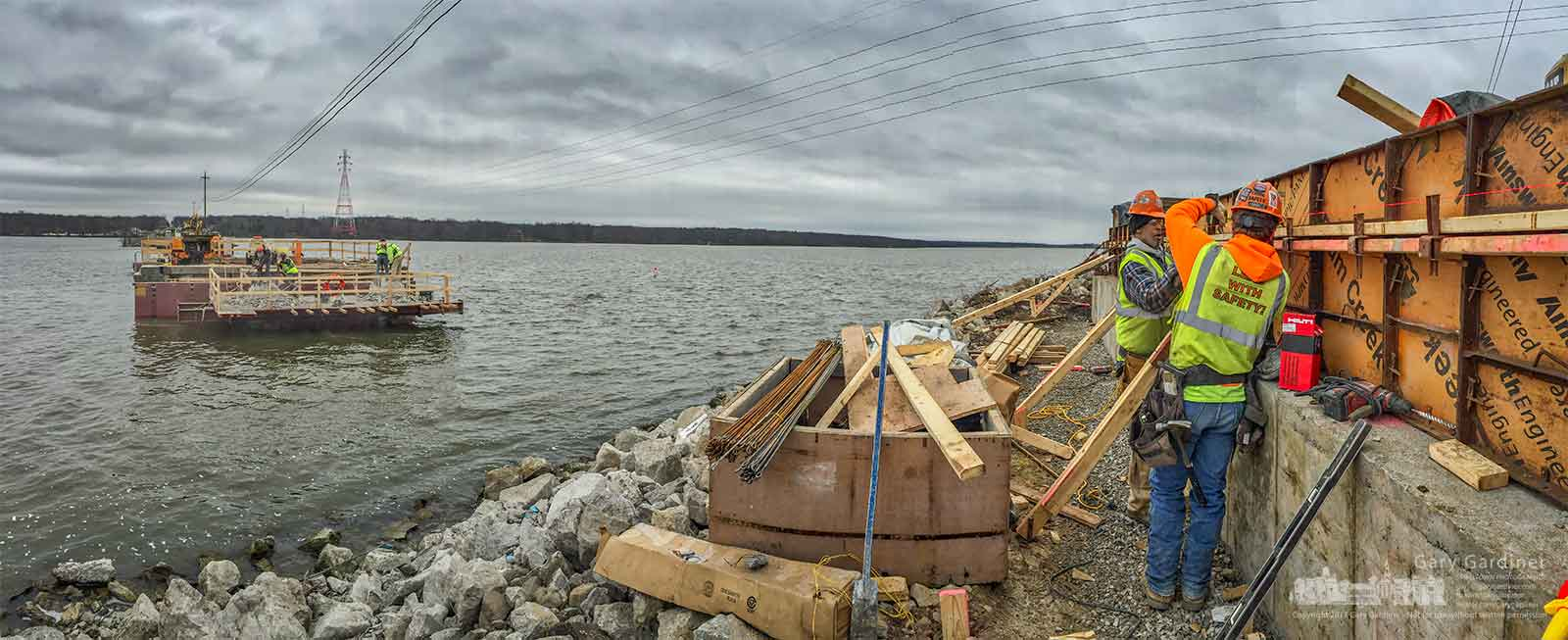 Contractors build forms for the concrete abutment that replaces the old sections of the Smothers Road bridge over Hoover Reservoir. My Final Photo for March 20, 2017.