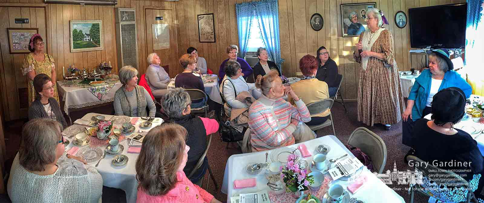 Major Pauline Cushman, portrayed by Valerie Hamill, shares stories of her daring deeds as a Yankee spy behind Confederate lines at the Hanby House Taking Tea gathering Saturday. My Final Photo for April 8, 2017