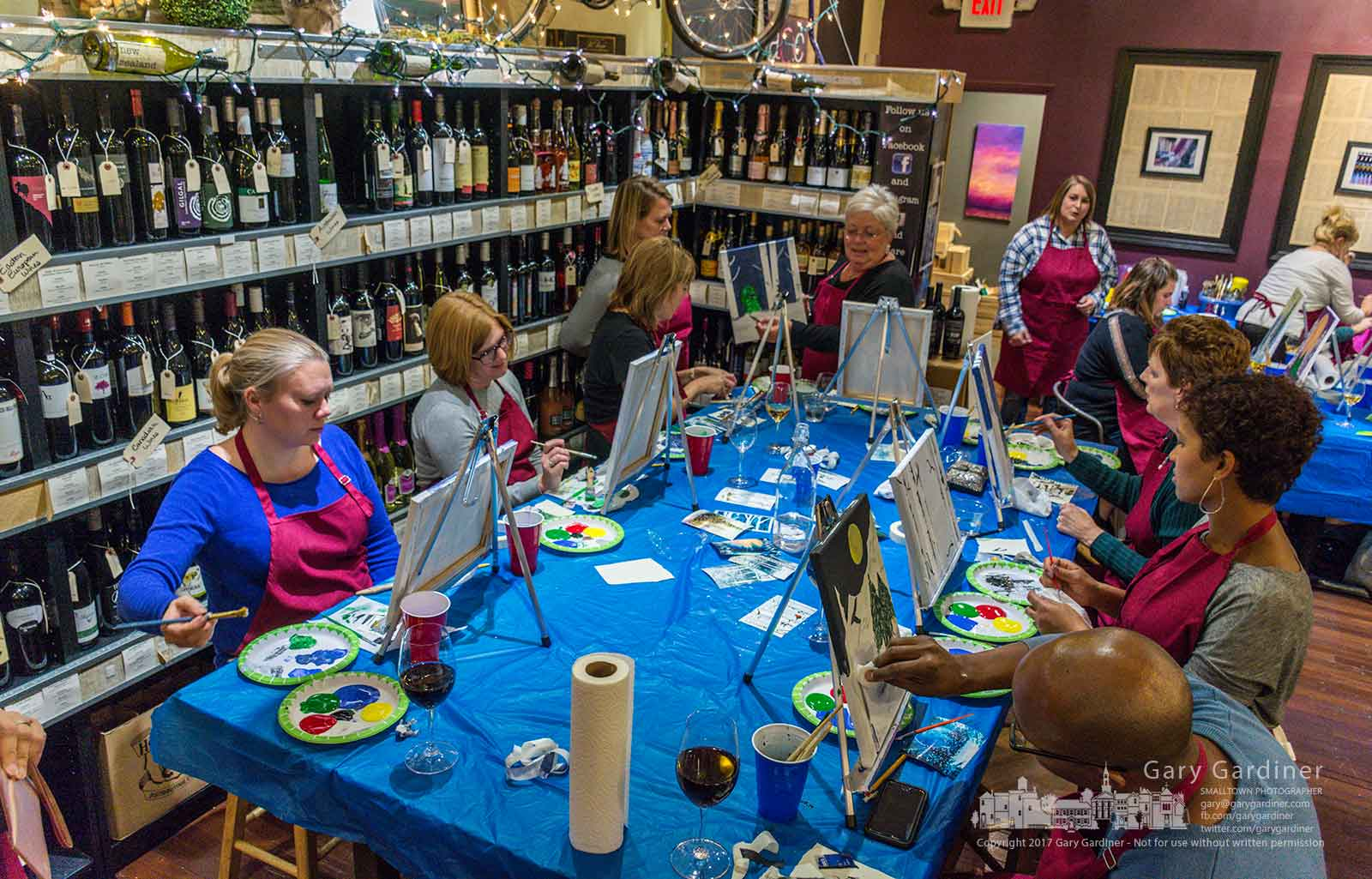 A group of artists and wine enthusiasts combine their talent in the Sip & Sketch night out with the Arts Council of Westerville at Meza Wine Shop in Uptown Westerville. My Final Photo for Nov. 29, 2017.
