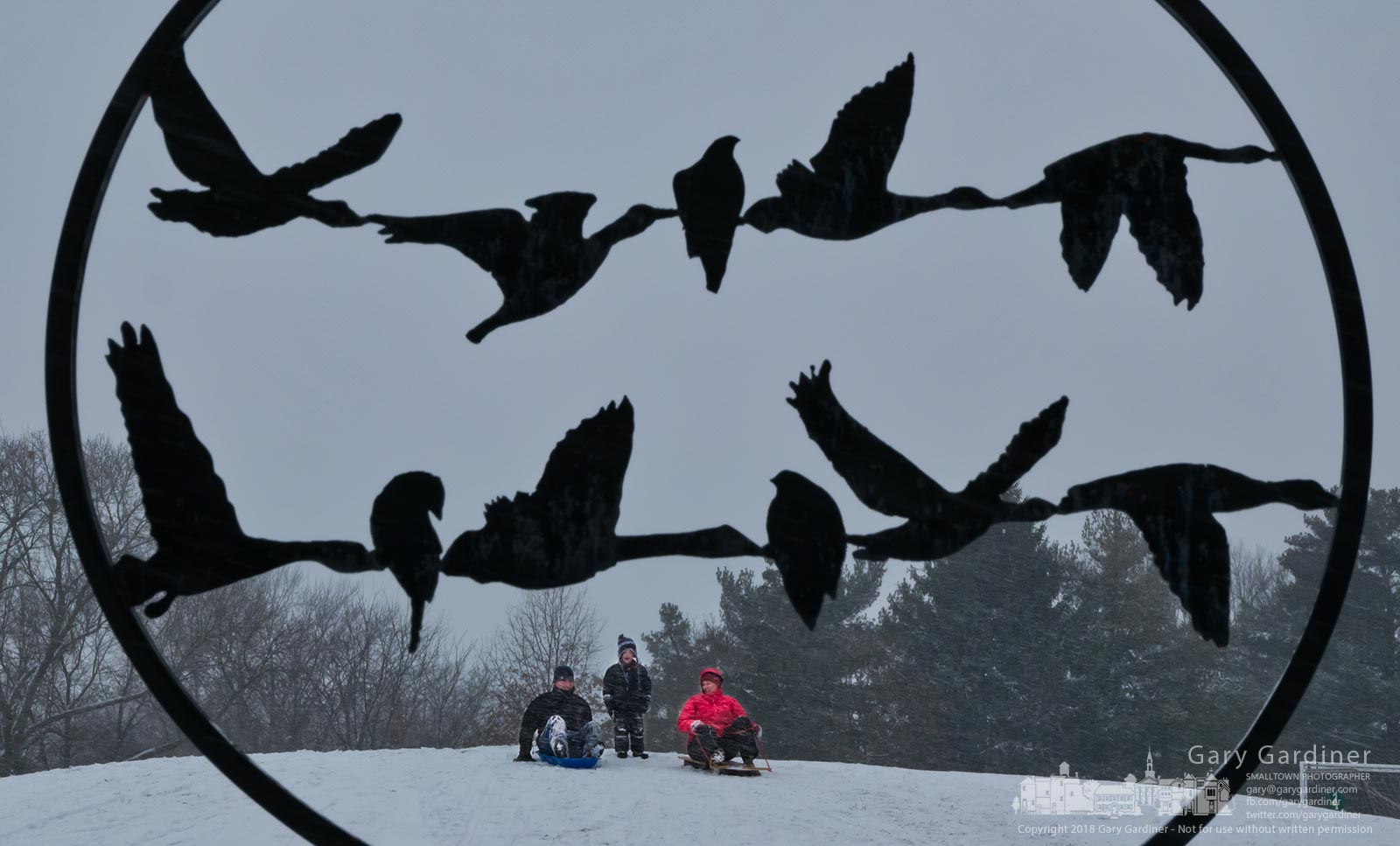 A family gathers at the top of the sledding hill at Highlands Park to enjoy the fresh snow near the metal sculpture depicting birds in flight near the wetlands. My Final Photo for Jan. 15, 2018.