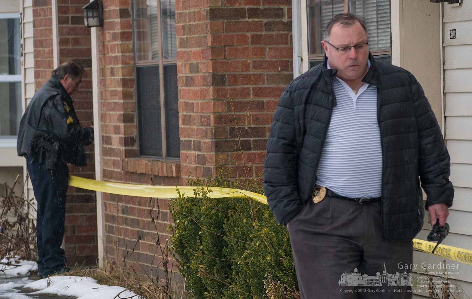 Westerville Police Chief Joe Morbitzer walks away from an apartment where two Westerville officers were killed investigating a dropped 911 call. My Final Photo for Feb. 10, 2018.
