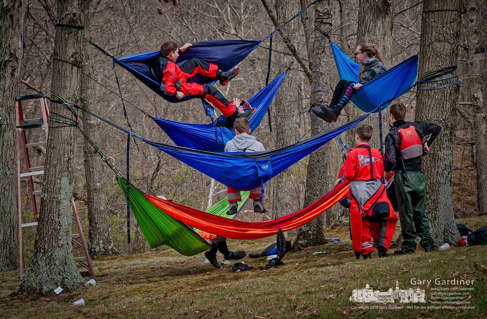 Sailors take to their hammocks between races at the Hoover Sailing Club's Westerville High School Regatta. My Final Photo for April 21, 2018.