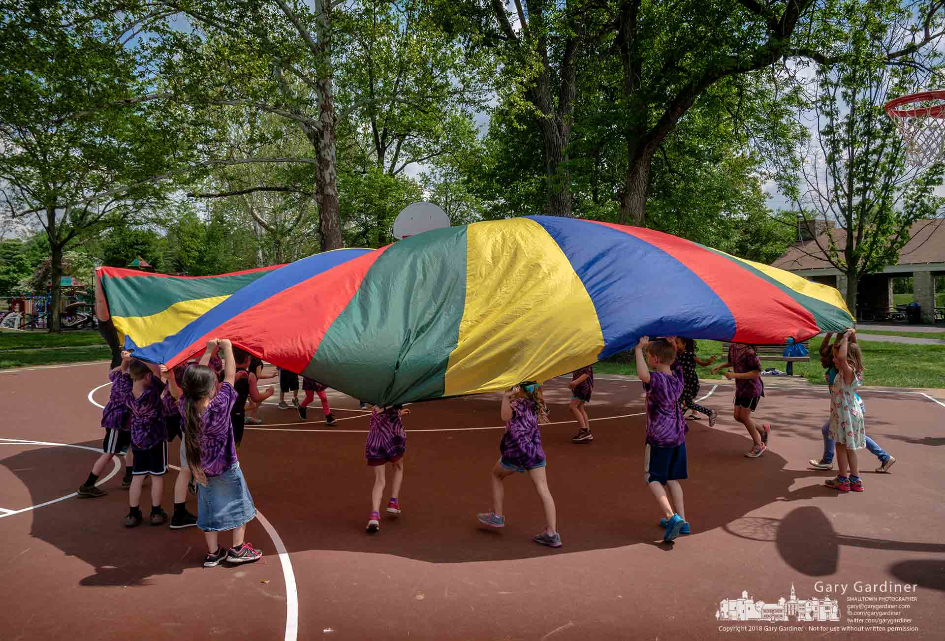 Hanby Elementary first graders run under an inflated parachute during their field trip to Alum Creek Park. My Final Photo for May 17, 2018.