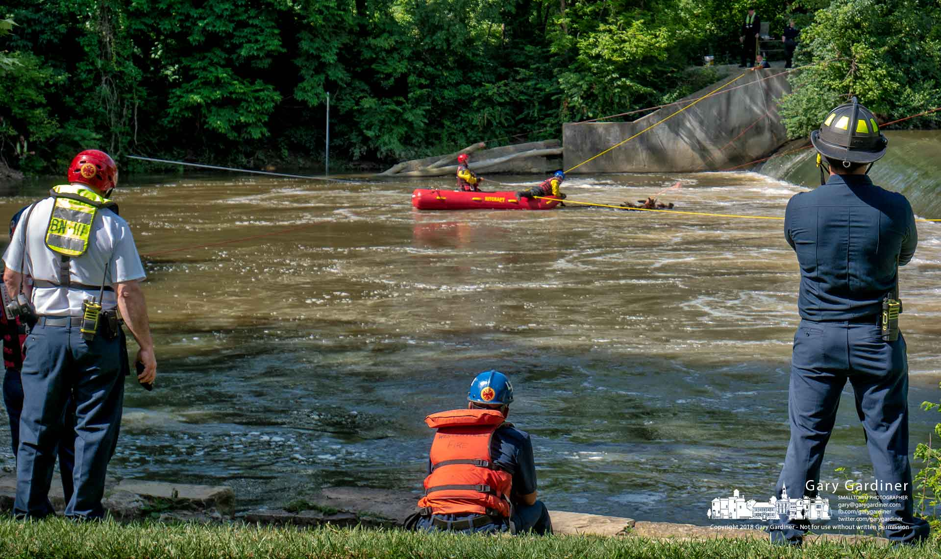 Westerville firefighters train using a new rescue boat deployed in the waters below the Alum Creek low-head dam. My Final Photo for June 25, 2018.