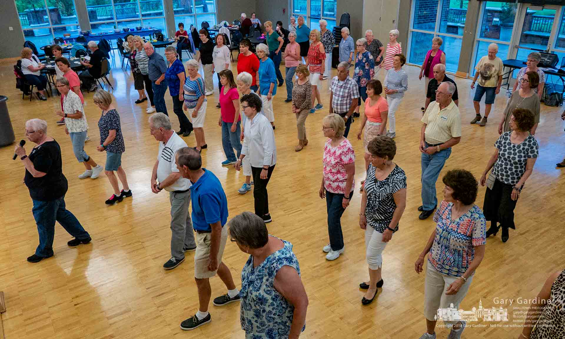 Line dancers step through their latest routine at the quarterly line dancing night at the community center. My Final Photo for June 8, 2018.
