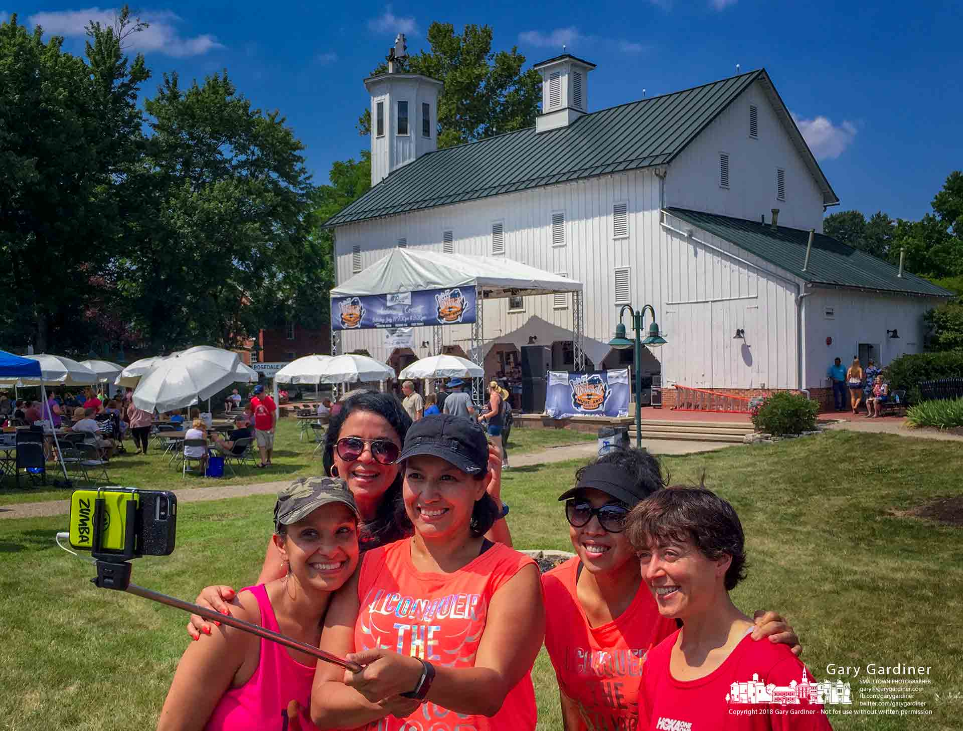 The Weaver family poses for a selfie in front of the Everal Barn during the first hours of the Westerville Music and Arts Festival at HeritagePark. My Final Photo for July 14, 2018.