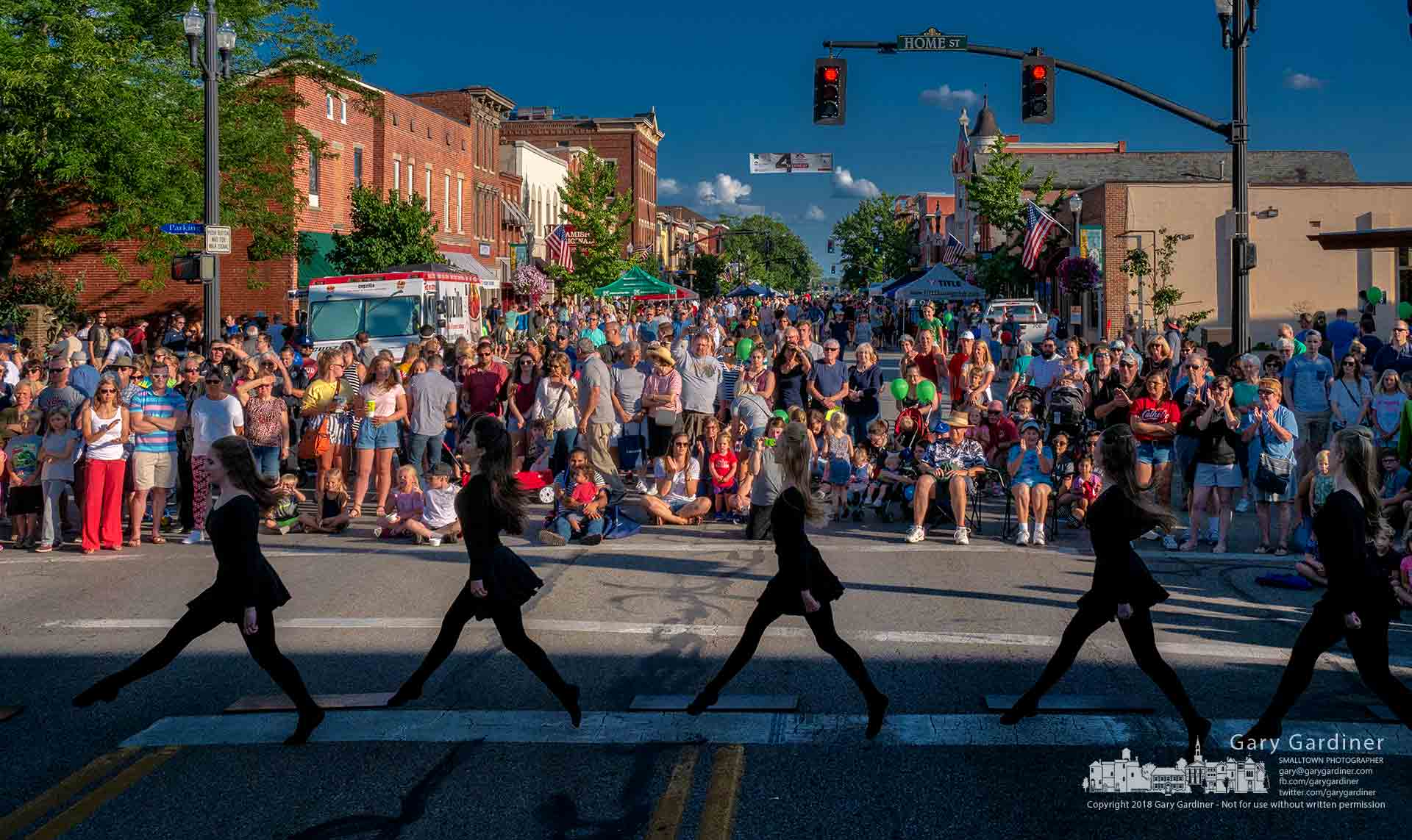 Irish dancers perform in the intersection of State and Home Streets during Fourth Friday, the monthly summer celebration in Uptown that closes State Street to traffic. My final Photo for July 27, 2018.