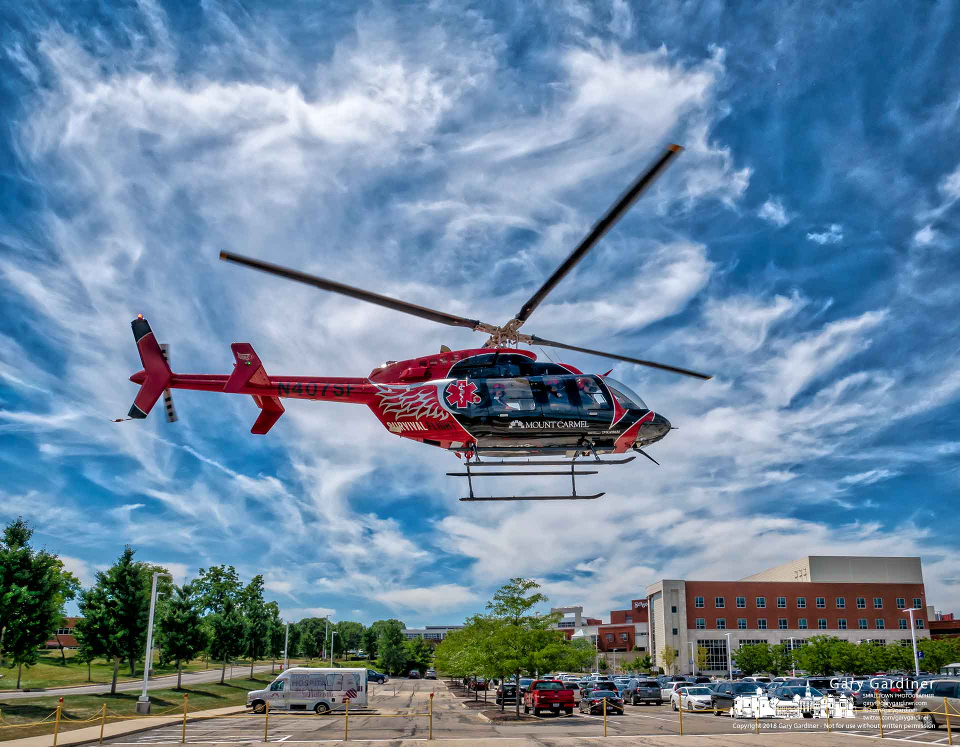 The Mt. Carmel Survival Flight helicopter lifts off from the St. Ann's Hospital helipad after a public relations visit to the complex on Cleveland Avenue. My Final Photo for July 19, 2018.