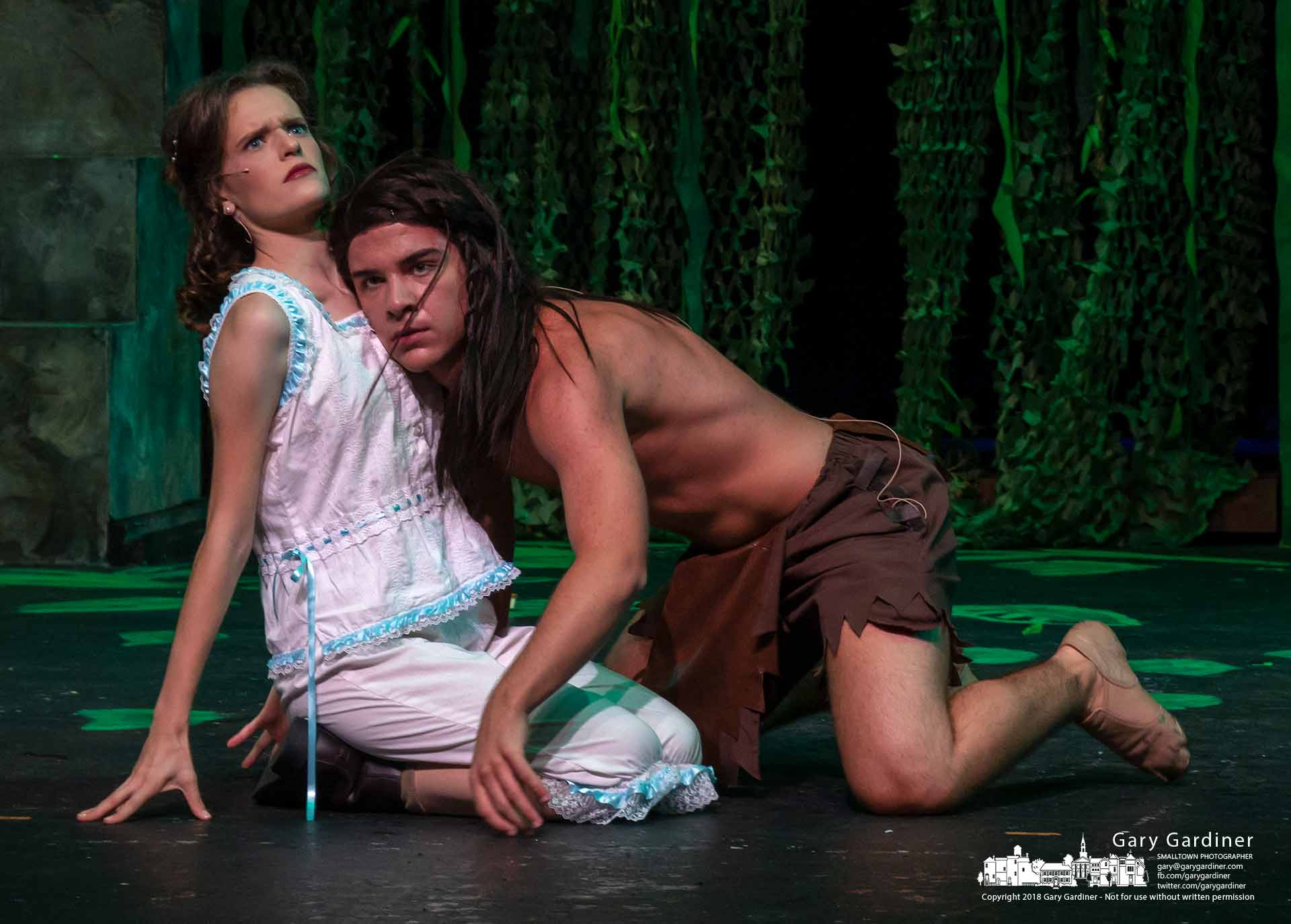 "Tarzan and Jane, played by Cherish Myers and Zach Ryan, meet for the first time during a dress rehearsal for Westerville Park and Recreation's production of ""Tarzan"" this weekend at Westerville Central High School. My Final Photo for July 24, 2018."