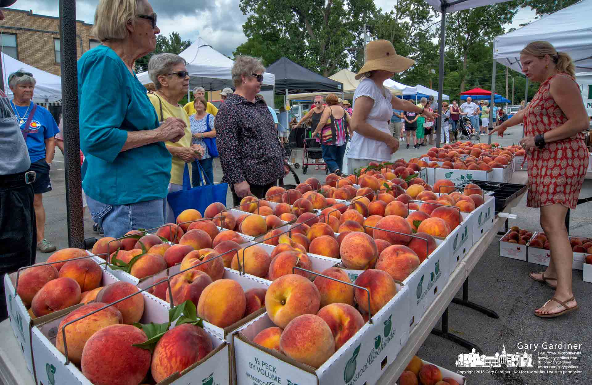 Shoppers line up at the Branstool Orchards table on the first day the farm brought peaches to the Uptown Westerville Farmers Market. My Final Photo for Aug. 8, 2018.