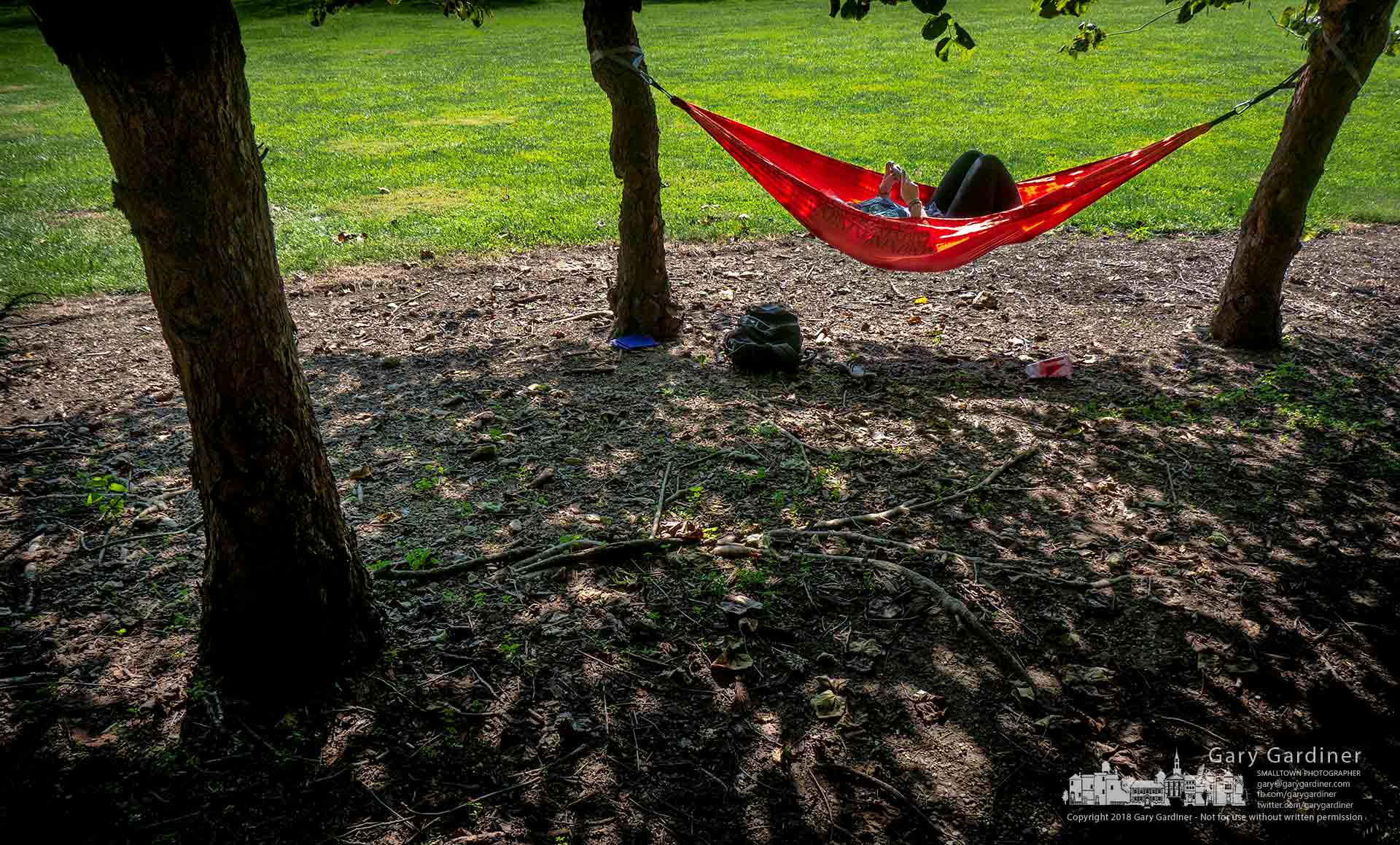 An Otterbein student takes a break from project research and checks her phone as she relaxes in a hammock hanging between two trees in Alum Creek Park North near the campus. My Final Photo for Oct. 1, 2018.