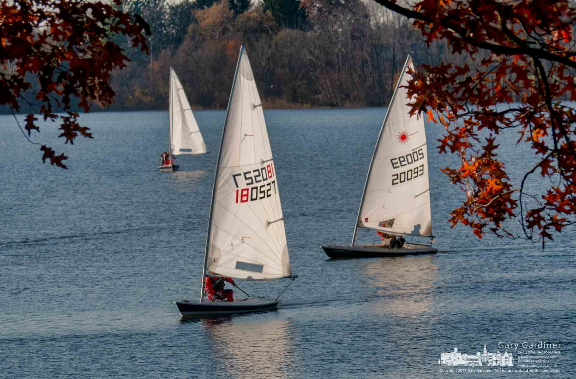 Sailors return to the docks at the Hoover Sail Club after finishing a brisk race on the cold waters of Hoover Reservoir. My Final Photo for Nov. 11, 2018.