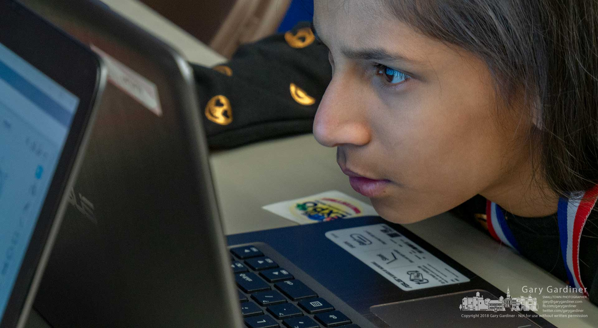 A young girl studies her coding project during a session at The Columbus STEM and Arts Expo at The Point at Otterbein University. My Final Photo for Nov. 17, 2018.