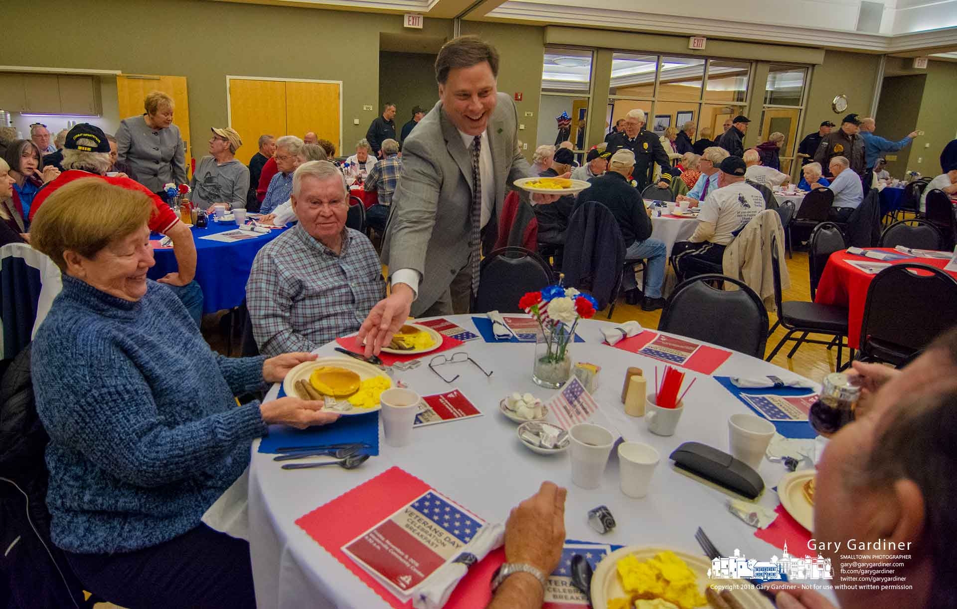 Westerville City Manager Dave Collinsworth serves breakfast at the annual Veterans Day Celebration pancake breakfast at the Community Center. My Final Photo for Nov. 9, 2018.