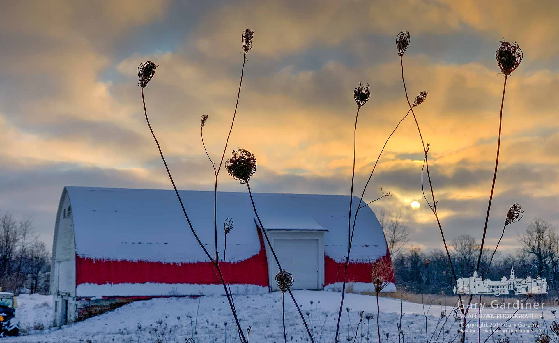 The morning sun rises behind the barn at the Braun Farm property on a cold winter day. My Final Photo for Jan. 14, 2019.