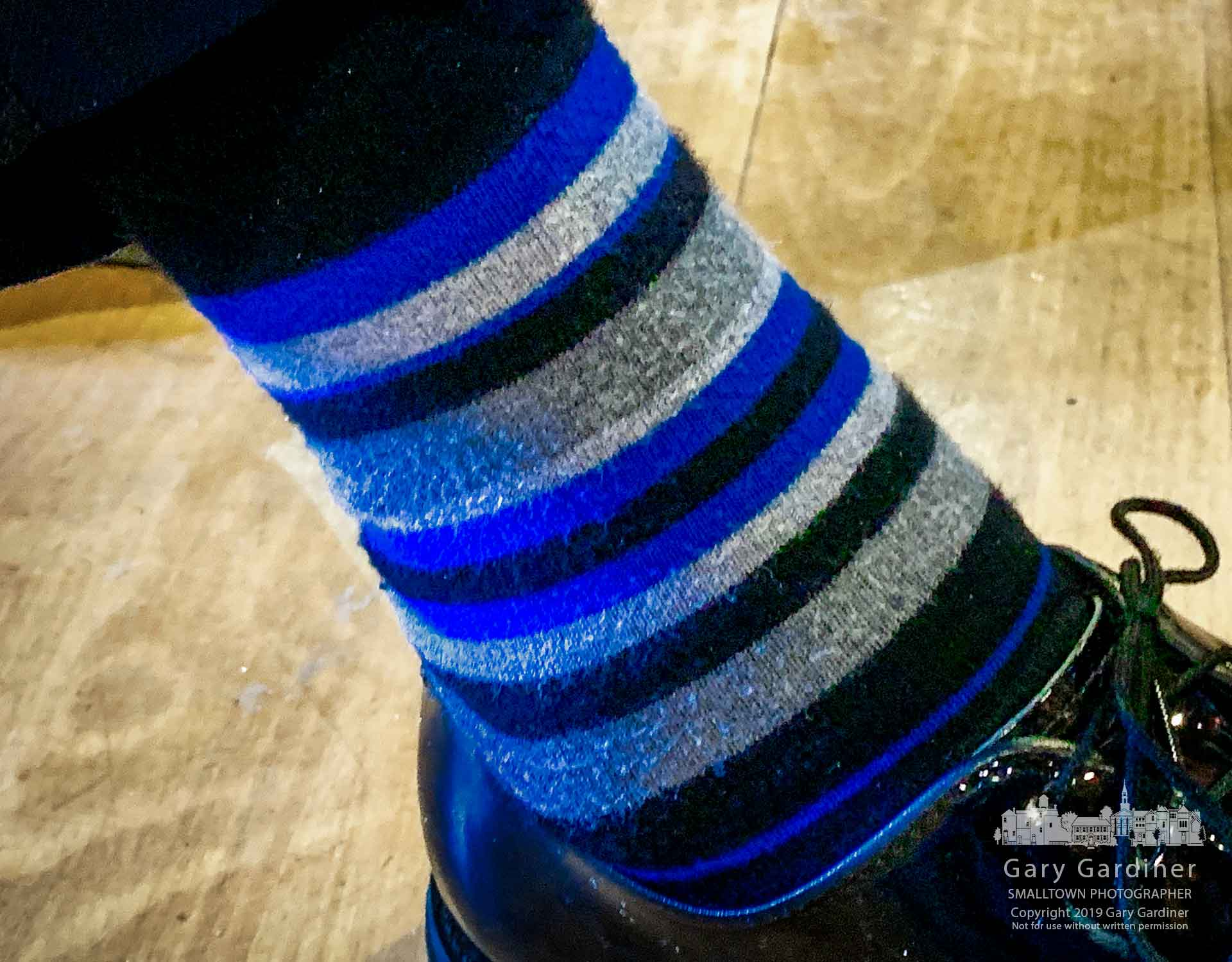 Departing Westerville Chief of Police Joe Morbitzer displays his thin blue line socks during an open house celebration marking his move to the Ohio Bureau of Criminal Investigation. My Final Photo for Jan. 25, 2019.