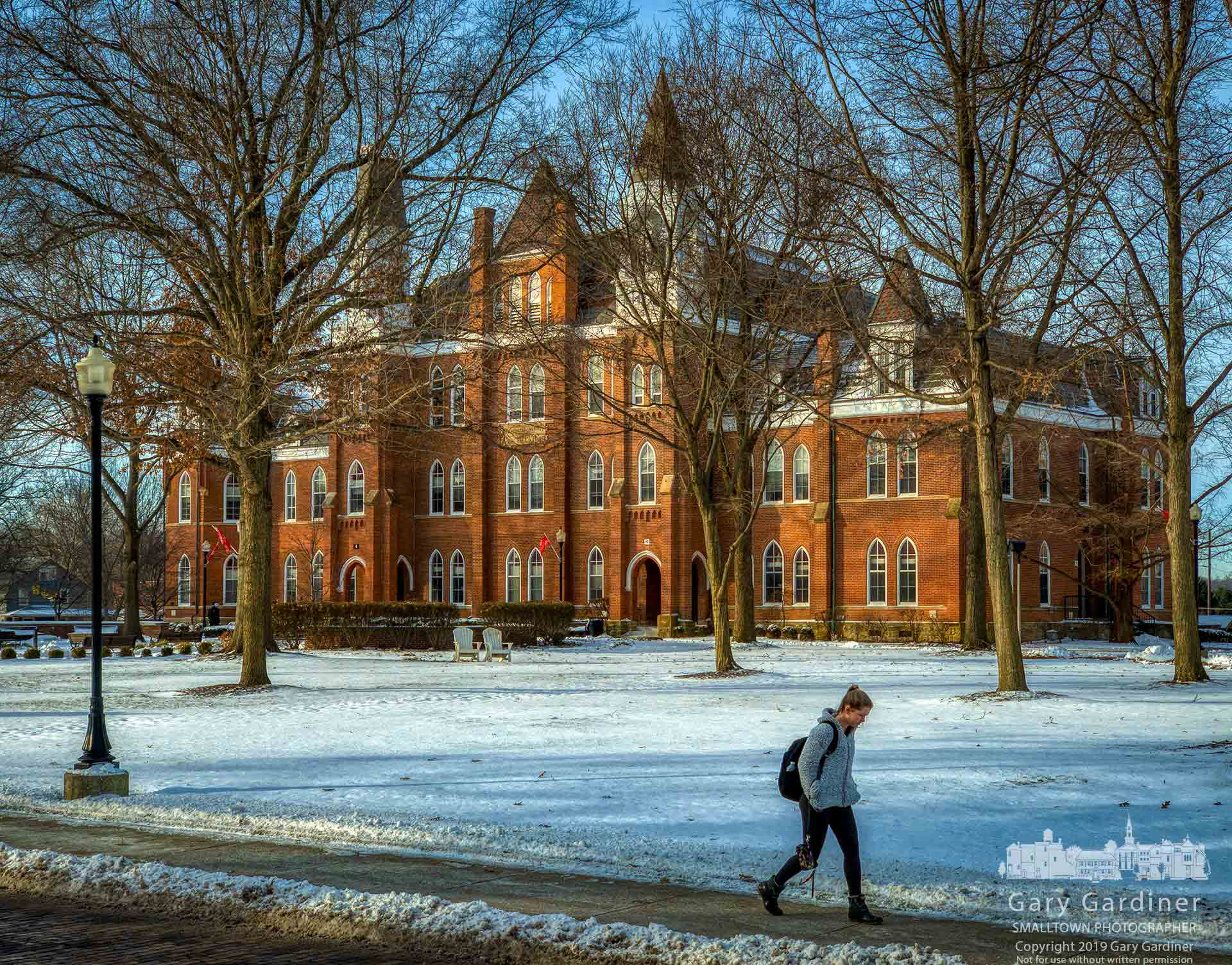 An Otterbein studentwalks to class in a morning with the temperaturein singledigits. My Final Photo for Jan. 22, 2019.