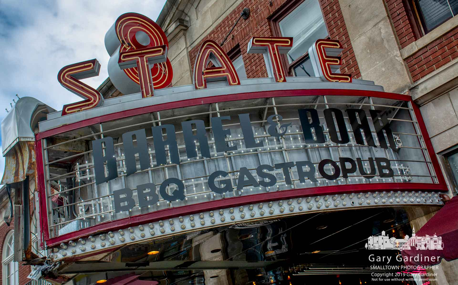 The LEDs that illuminate the 8 State marquee can be seen after workers removed the iconic sign's translucent panels as repairs begin on the damage from a box truck hitting it last year. My Final Photo for March 21, 2019.