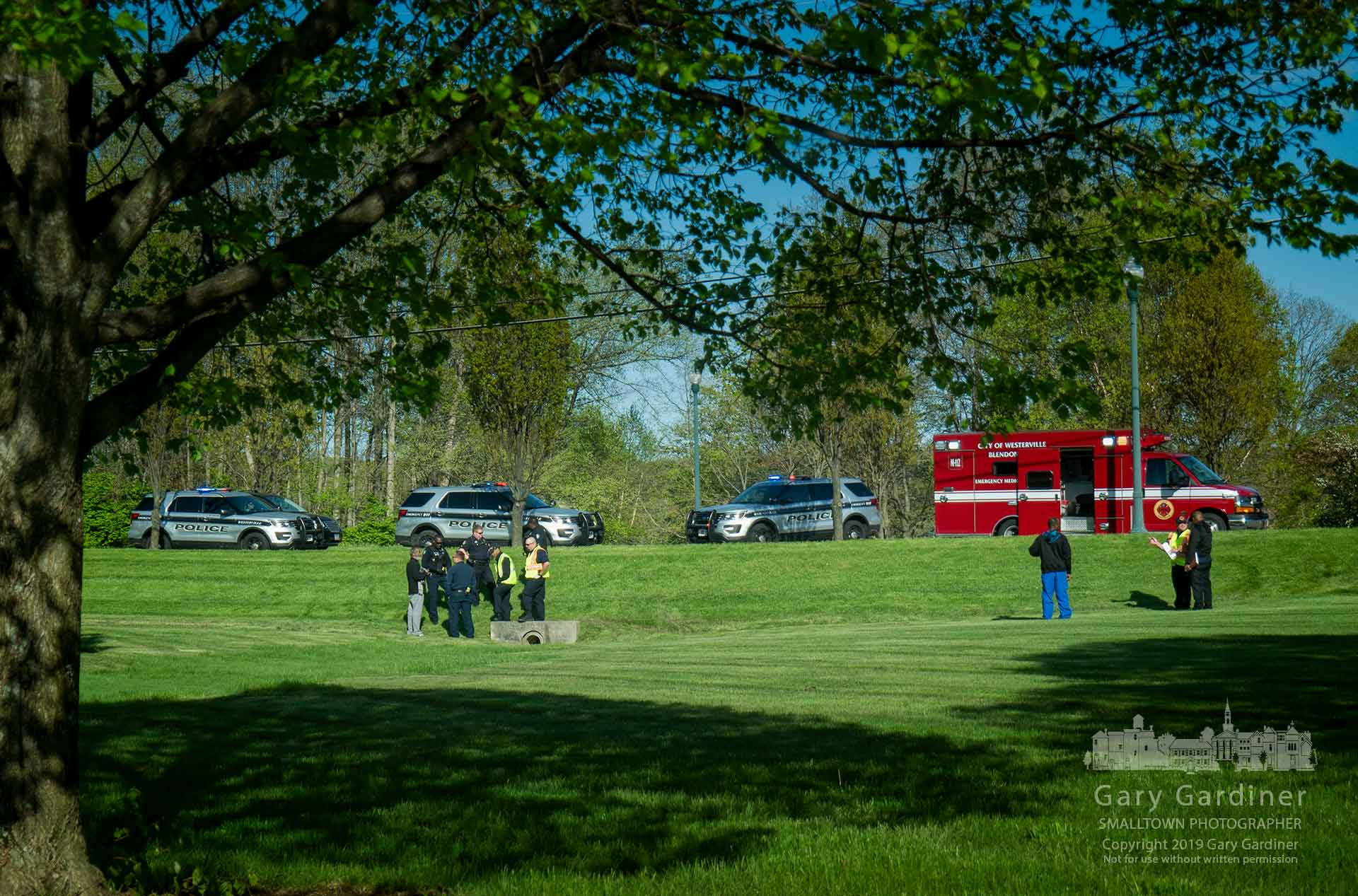 Westerville police and firefighters assist a medically distressed elderly man who walked away from his care facility returning only after first responders help him overcome his immediate problems. My Final Photo for April 28, 2019.