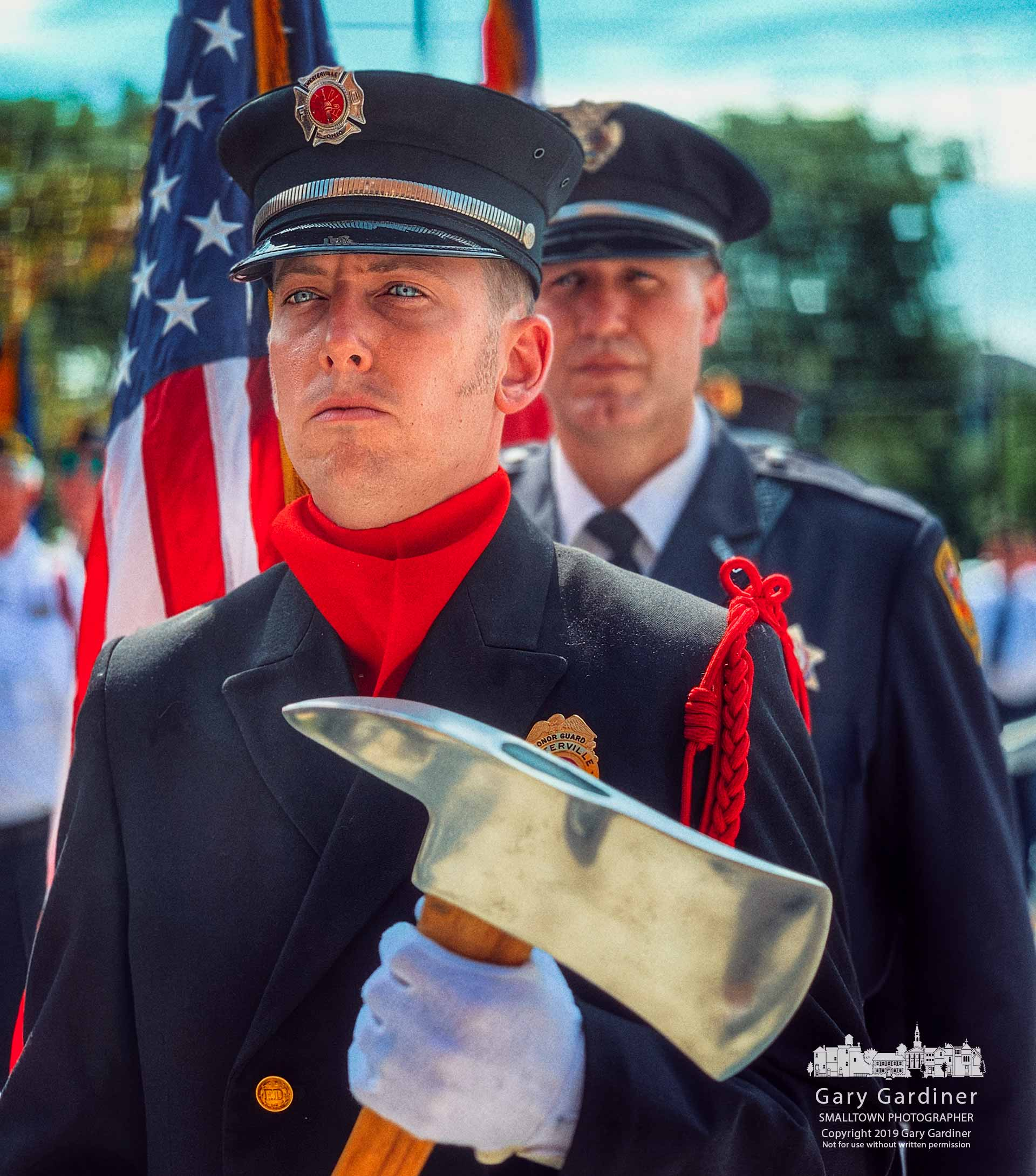 The Westerville Fire Department Honor Guard stands at the ready before ceremonies Wednesday marking the 18th anniversary of the terrorist attacks in New York and Washington. My Final Photo for Sept. 11, 2019.