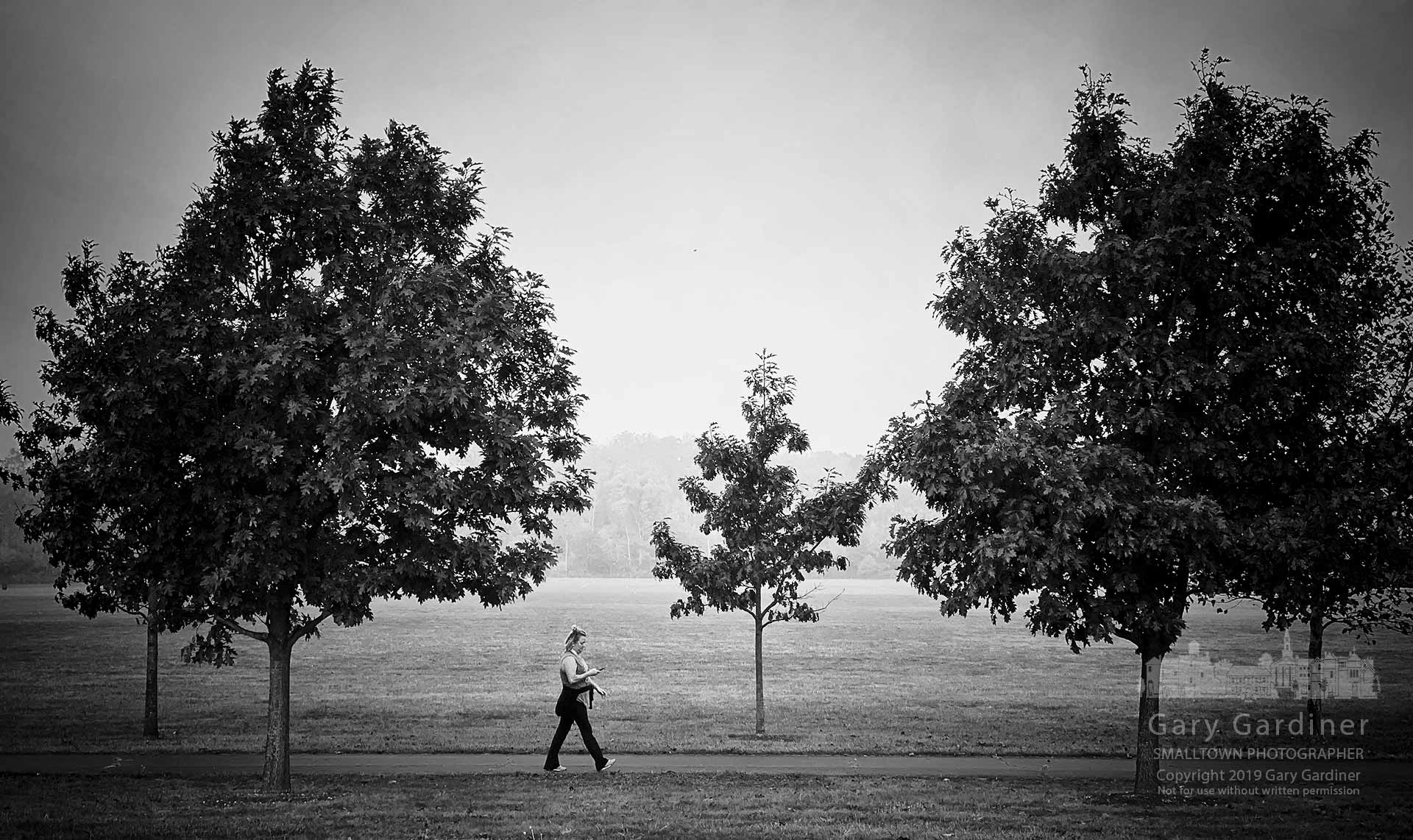 A woman checks her phone as she walks along the path at the sports fields on Cleveland Ave. on a foggy morning. My Final Photo for Oct. 3, 2019.