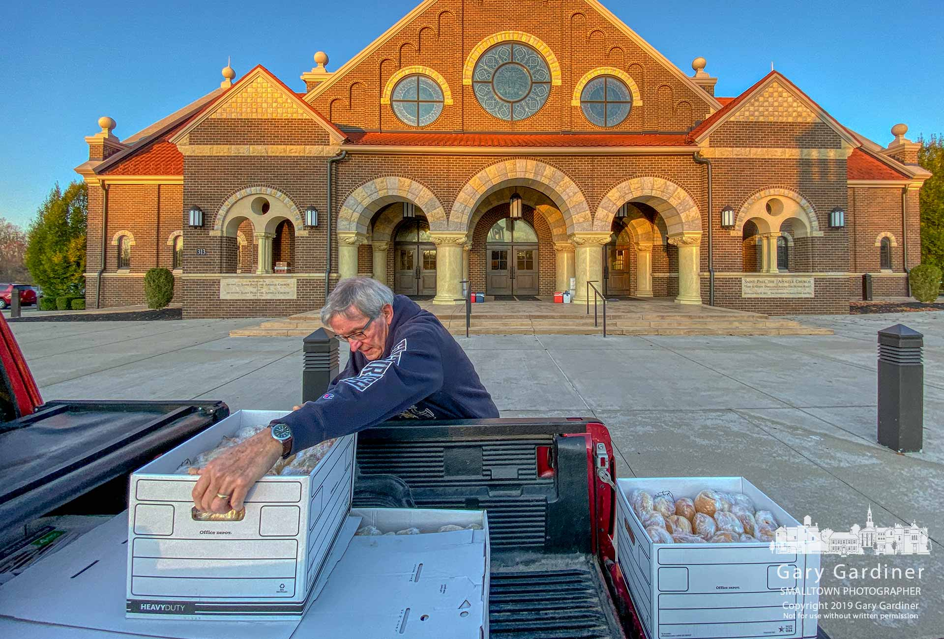 A member of the Knights of Columbus unloads boxes of sub sandwiches to be sold as a fundraiser after Sunday Masses at St. Paul the Apostle Catholic Church in Westerville. My Final Photo for Nov. 3, 2019.