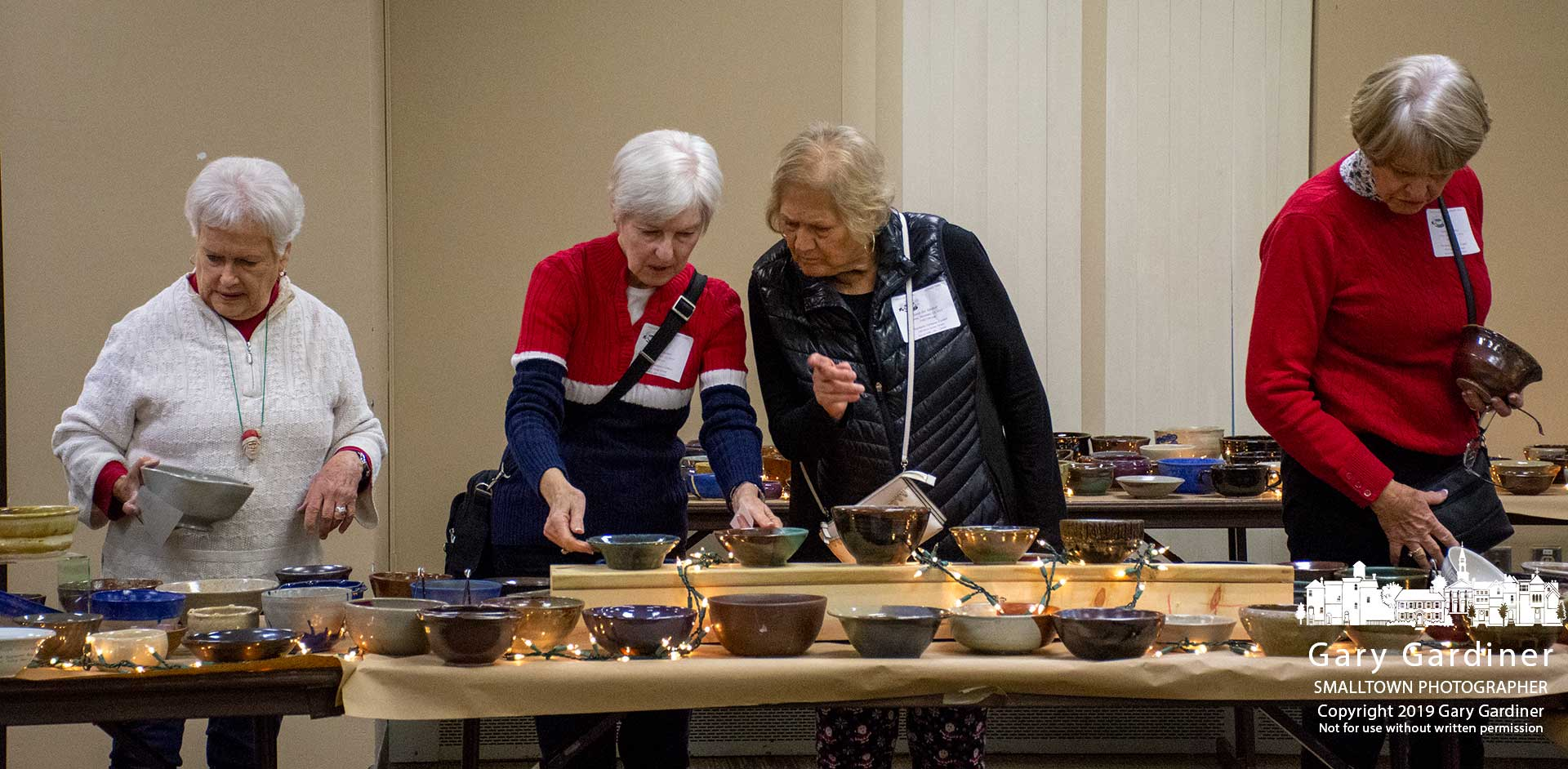 Four women make their selection of bowls at Habitat for Humanity's Soup for Shelter fundraiser at Otterbein University. My Final Photo for Dec. 13, 2019.