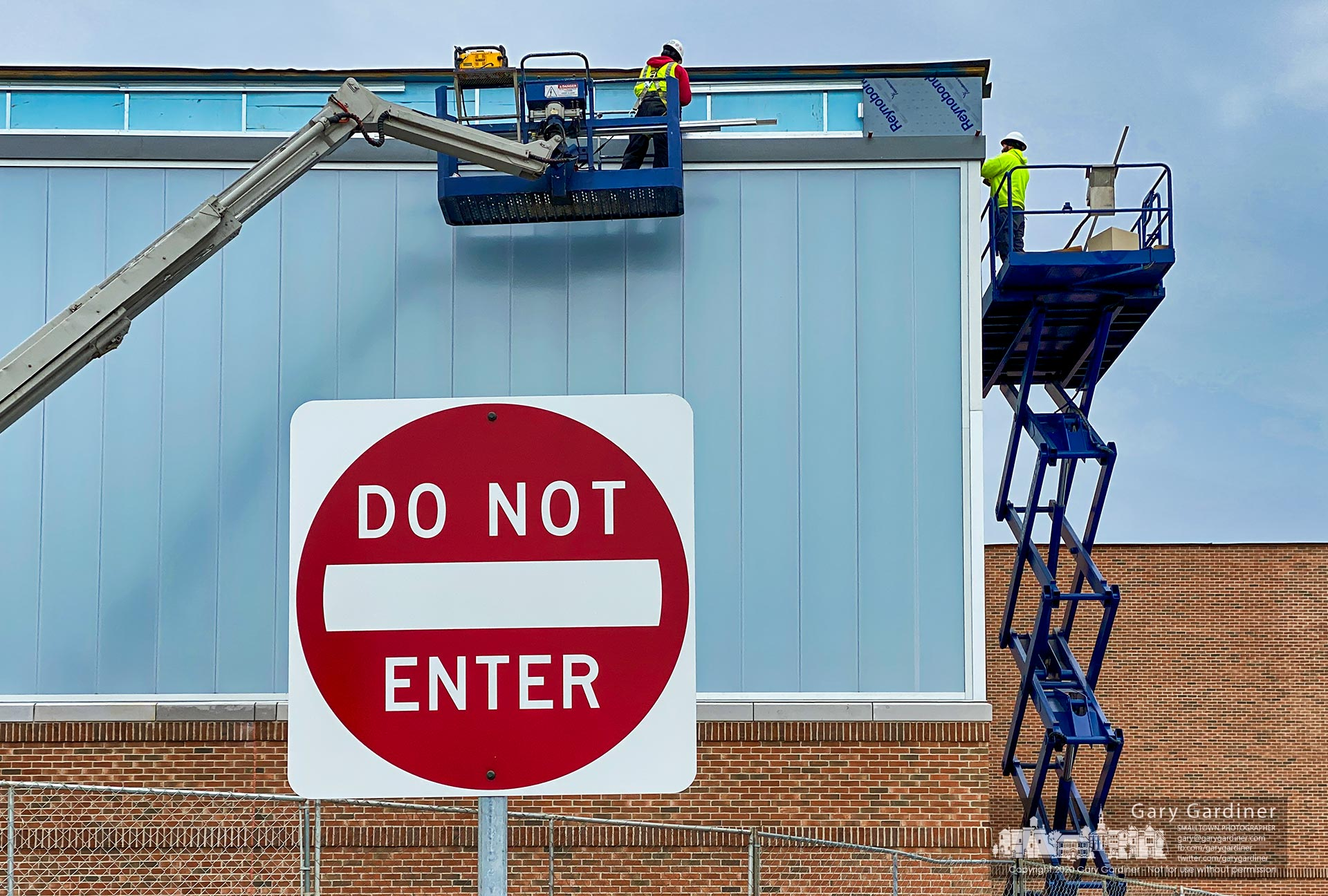 "A ""Do Not Enter"" sign marks a roadway at the front of the Community Center where construction continues on expansion of the facility. My Final Photo for Jan. 23, 2020."