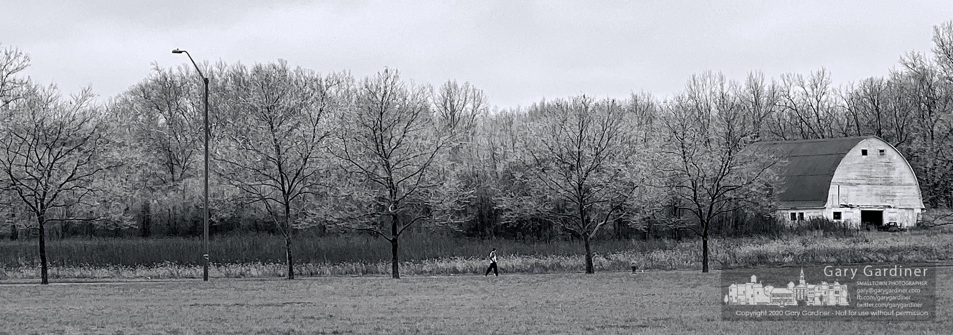 A runner travels along Cooper Road in the shadow of ice-covered trees after an overnight storm delivered freezing rain to central Ohio. My Final Photo for Feb. 6, 2020.