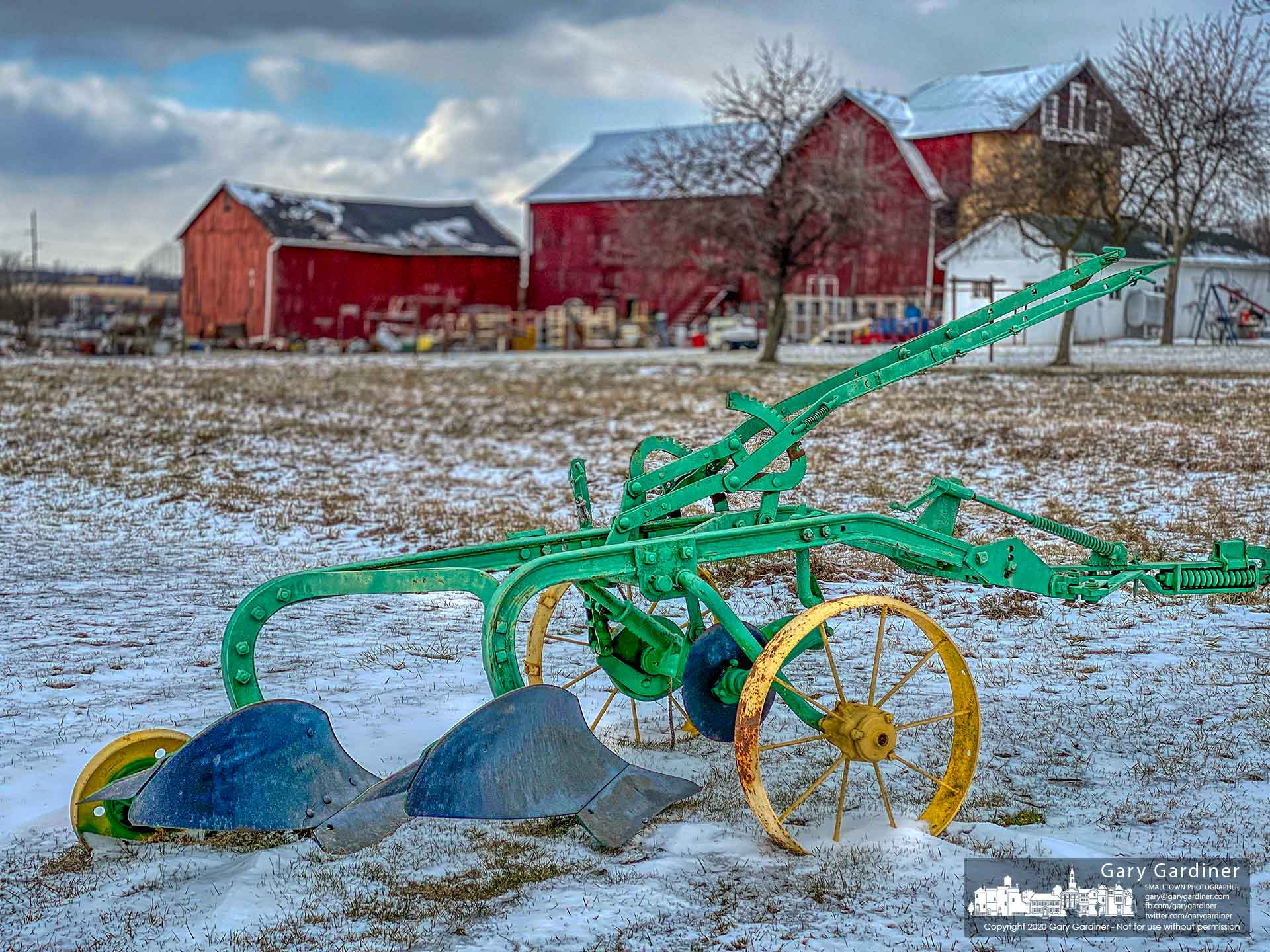 An antique plow sits in a dusting of snow on a small garden patch at the Yarnell Farm on Africa Road. My Final Photo for Feb. 27, 2020.