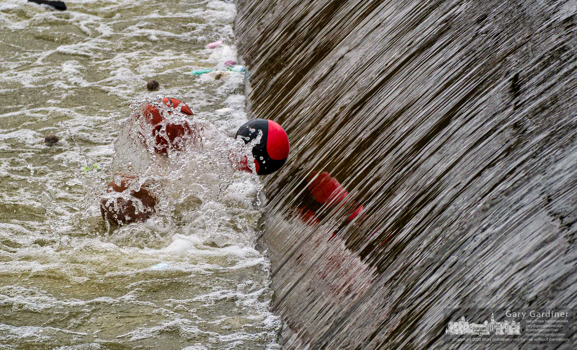 A trio of basketballs and a collection of small and tennis balls fight their way through the unforgiving waters at the base of the low head dam at Alum Creek in Westerville. My Final Photo for March 27, 2020.