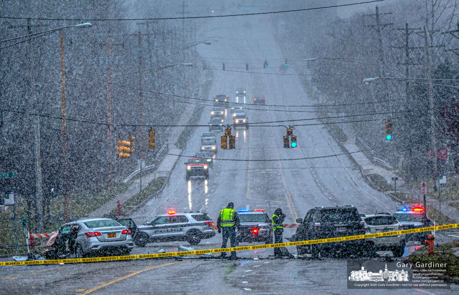 Westerville police officers investigate a three-car crash that closed Schrock Road Saturday morning for several hours and sent two people to the hospital. My Final Photo for March 14, 2020.