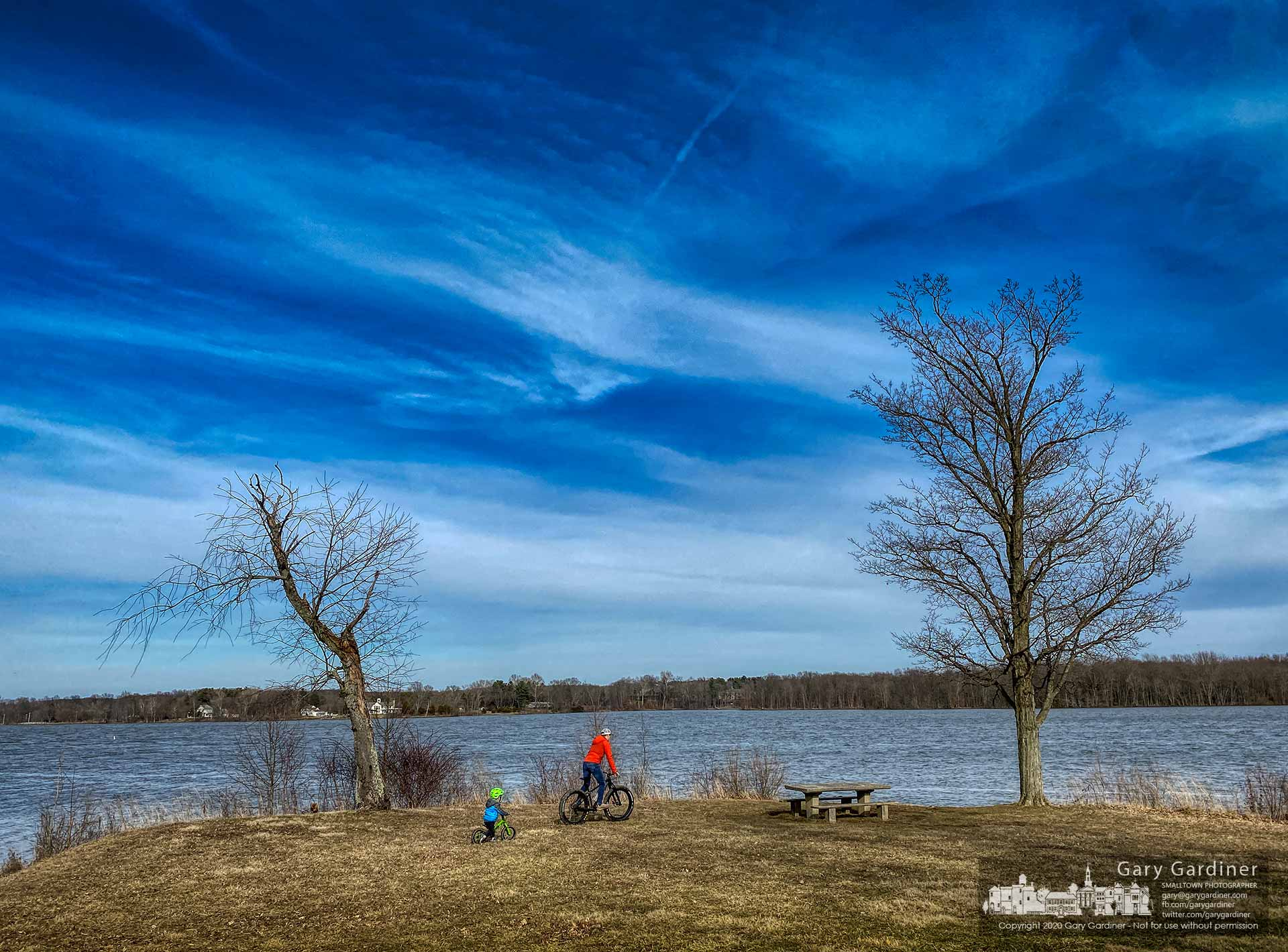 A father and son ride their bikes along the shoreline of Hoover Reservoir at Red Bank Park on the first day of March. My Final Photo for March 1, 2020.