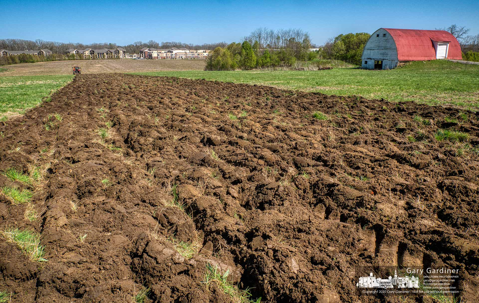 Rows of freshly plowed field are the first markers at the Braun Farm where the hay fields adjacent to the barn will be planted with corn later this spring. My Final Photo for April 20, 2020.