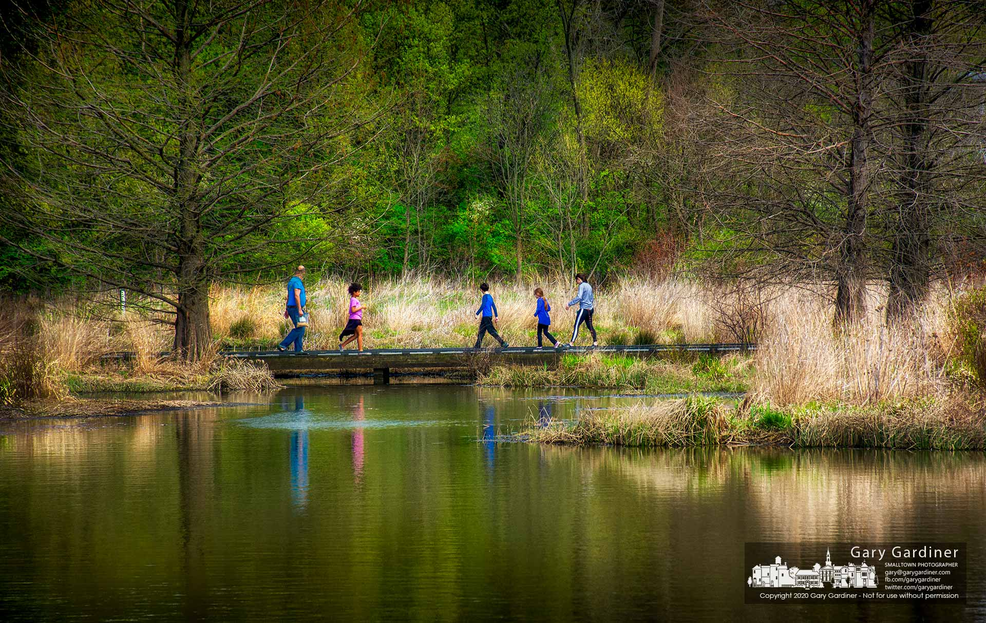 Families cross the bridge spanning the Highlands wetlands on a warm Saturday morning. My Final Photo for April 25, 2020.
