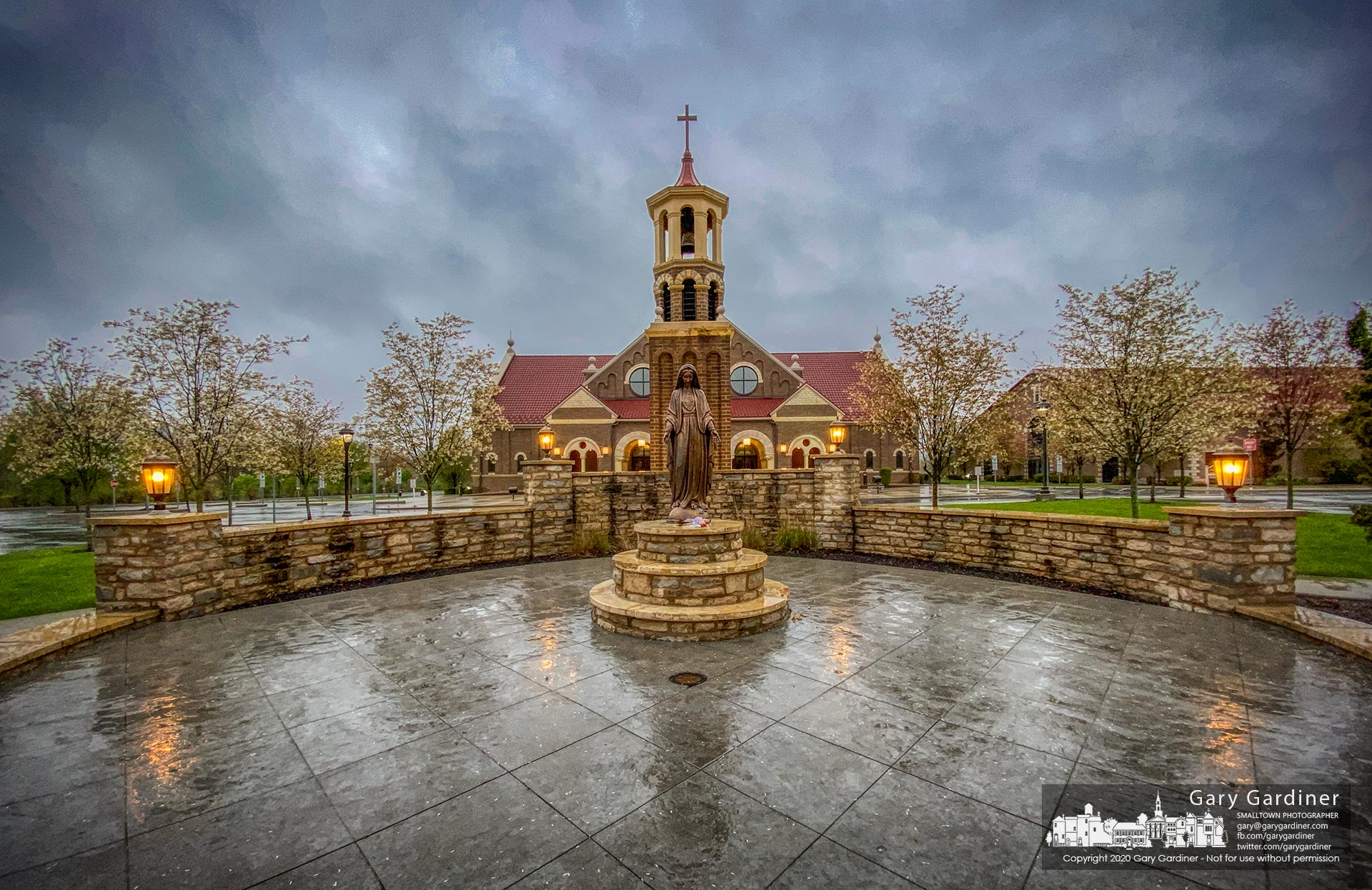 Rain dampens St. Paul the Apostle Catholic Church where Sunday Mass is broadcast on Facebook during the pandemic lockdown. My Final Photo for April 26, 2020.