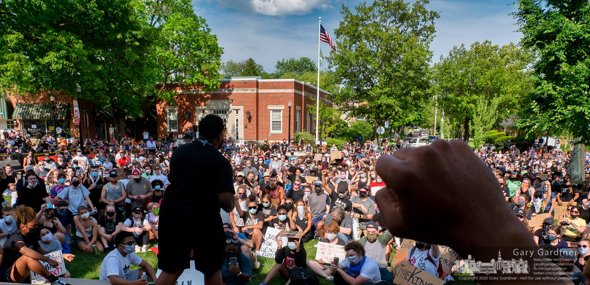 A large crowd gathers at Westerville City Hall after a march from Alum Creek Park as part of a protest for support of the Black Lives Movement and recent protest activity across the country. My Final Photo for June 3, 2020.