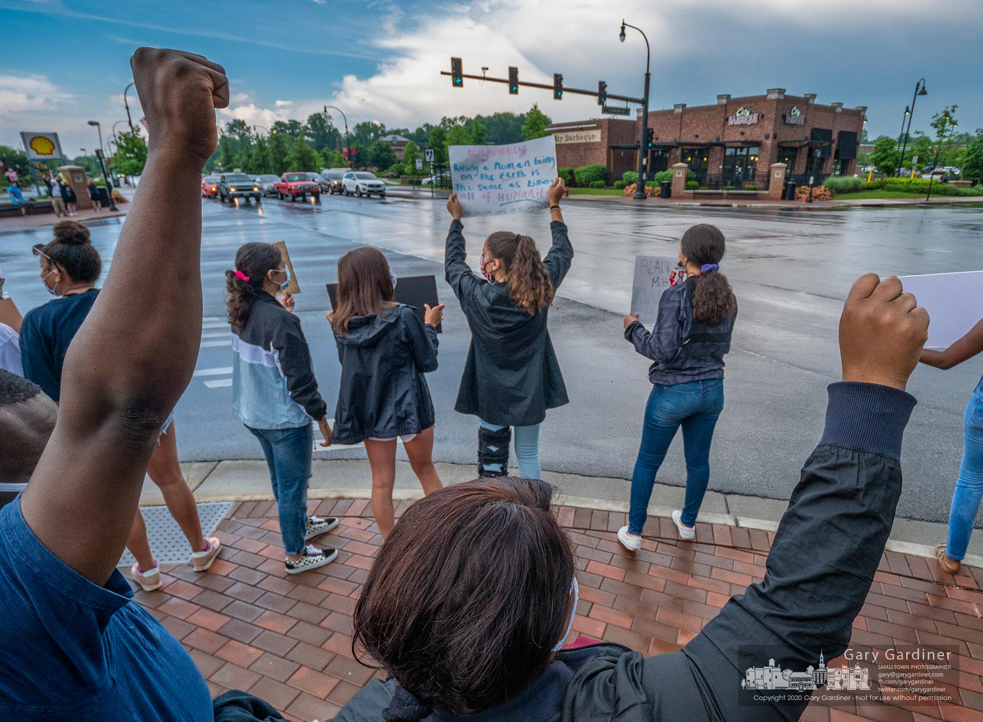 A small crowd stood at State and Schrock Thursday following a larger group of protesters in Uptown rallying in a protest supporting the Black Lives Movement and recent protest activity across the country. My Final Photo for June 4, 2020.